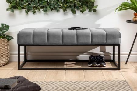 bank zilvergrijs fluweel stof zwart frame 108cm