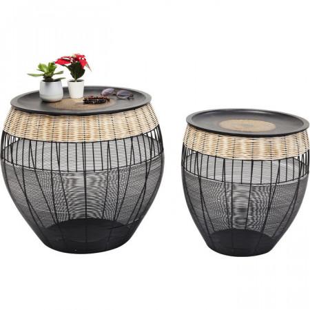 Bijzettafel African Drums (2 / Set) Zwart