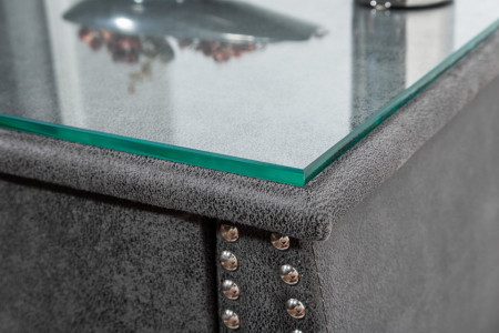 Elegant nachtkast antiek grijs stof met La