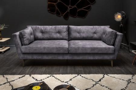 Elegante 3-zits bank MARVELOUS 220 cm grijs fluweel 3-zits bank inclusief kussens