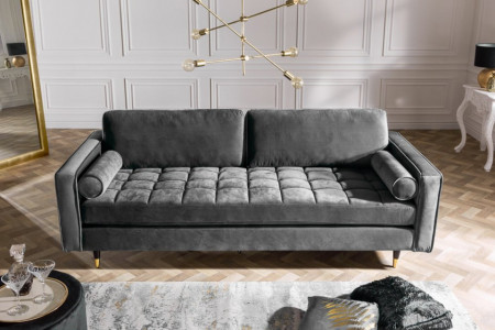 Elegante design 3-zitsbank COSY VELVET 225 cm grijs velours stof
