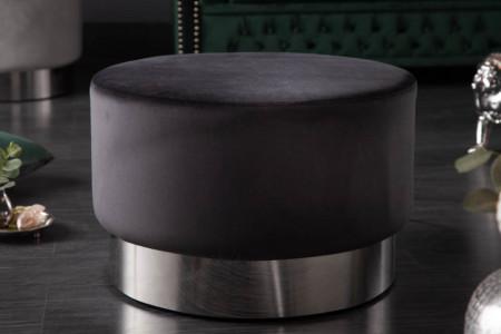 Elegante Poef/Salontafel BAROQUE 55 cm fluweel zwart zilver