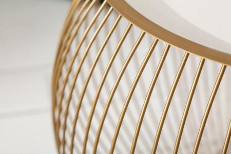 Elegante salontafel STORAGE 51 cm goud witte opbergmand met dienblad
