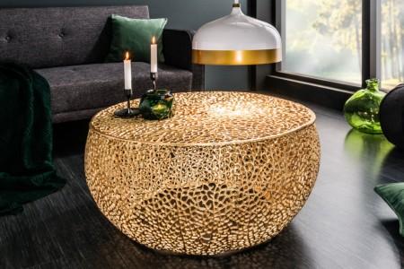 Filigraan design salontafel LEAF 80cm goud handgemaakt
