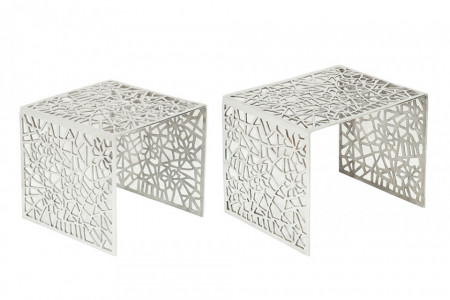 Handgemaakte salontafel ABSTRACT 49 cm set van 2 zilver in gap-design