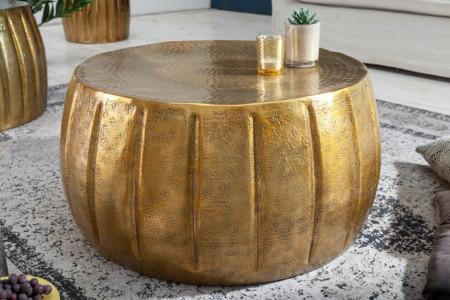 Handgemaakte salontafel MARRAKESCH 65 cm goud met gehamerd design afbeeldingen