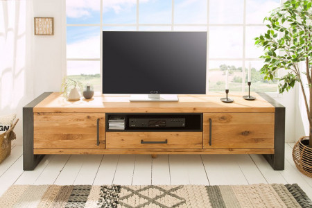 Massief tv-bord THOR 200 cm wild eiken geolied lowboard in industrieel design
