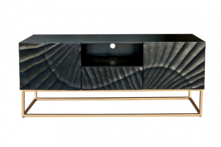 Massief tv-dressoir SCORPION 160 cm zwart mangohout, gedetailleerd 3D-houtsnijwerk afbeeldingen