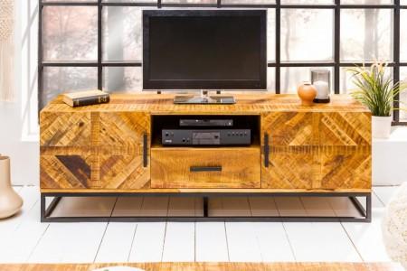 Massive TV-Board INFINITY 160 cm Mango Wood industrieel ontwerp afbeeldingen