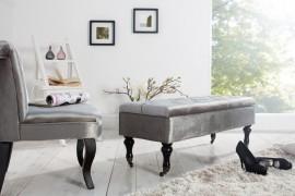 Noble BOUTIQUE Design bankje 110 cm (Zilver/Grijs) met opbergruimte afbeeldingen