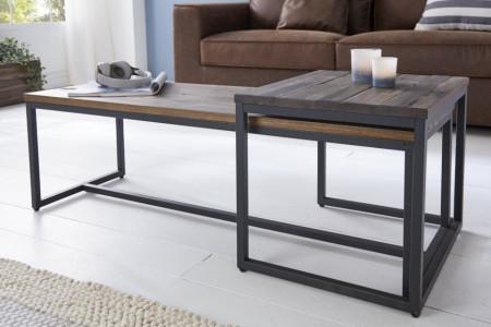 Set van 2 industriële salontafels ELEMENTS 110 cm acaciahout verweerd massief hout