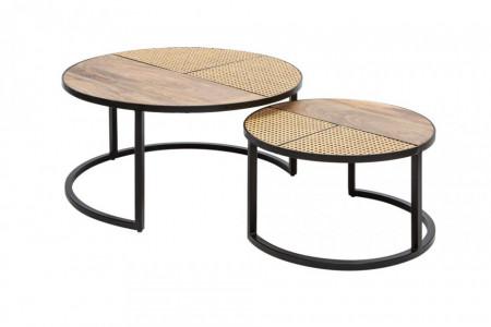 Set van 2 industriële salontafels VIENNA LOUNGE 70 cm rond mangohout met vlechtwerk