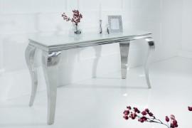 Stijlvolle design Side tafel MODERN BAROCK 140cm roestvrij staal met tafelblad in wit opaalglas