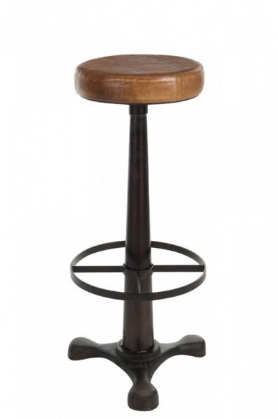 Barstoel Leder/Metaal Cognac