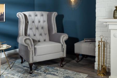 Chesterfield fauteuil 85cm zilvergrijs fluweel met knoopsluiting