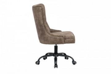 Design bureaustoel Chesterfield-ontwerp VICTOR lichtbruin met armleuning