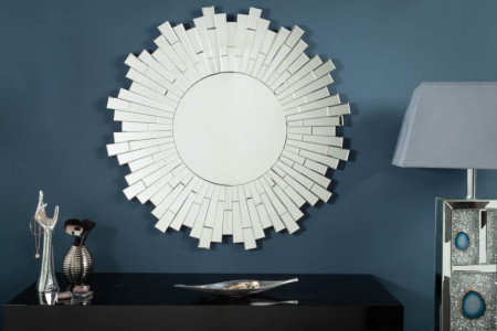Elegante design wandspiegel MOSAIK 90 cm rond in mozaïekstijl