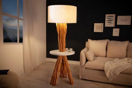 Functionele vloerlamp SERVANT 153 cm longan massief hout met tafel en parasol