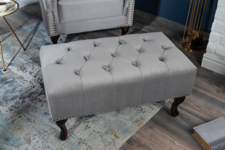 Hocker zilver grijs gecapitonneerd 80cm fluweel stof