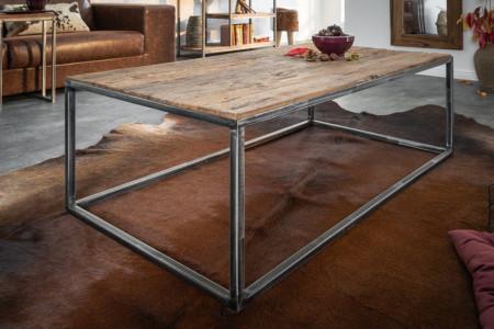Industriële salontafel BARRACUDA 110 cm salwood met gespikkelde poten