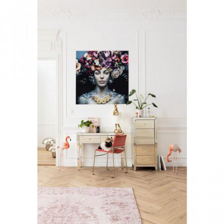 Ingelijste kunst glas Flower Art Lady 120x120cm