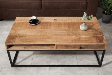 Massief mangohout salontafel met 2 Laden 100 cm IRON CRAFT