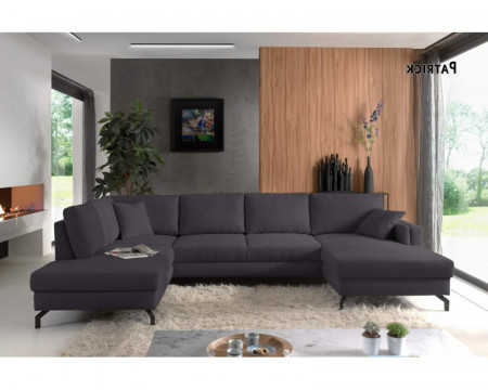 Moderne Lounge Hoekbank Stof Donkergrijs, Panoramische Salon Stof Donker Grijs 348 cm