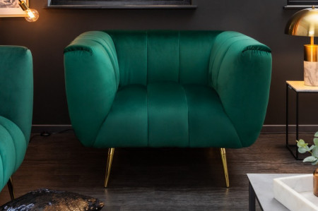 retro Fauteuil fluweel stof smaragdgroen