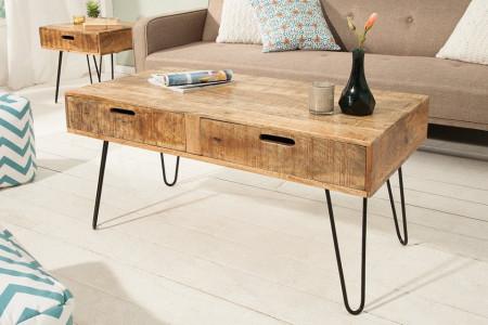 Retro mango hout salontafel met lades SCORPION 100 cm