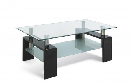 Salontafel Glas Hoogglans zwart model Budget 100 cm