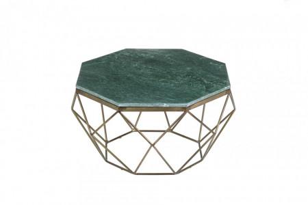 Salontafel Messing met Marmer Blad Groen Diamond 69 cm