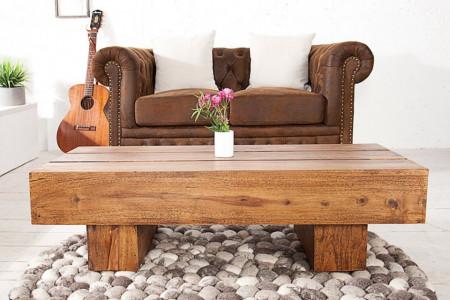 Solide design salontafel BOLT 100 cm Sheesham steen afwerking