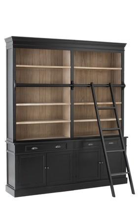 Bibliotheekkast+Ladder Hout Zwart/Naturel 200cm