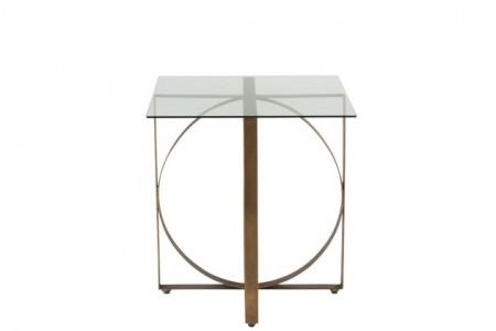 Bijzettafel Vierkant Met Glas Oud Goud 62cm