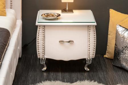 Elegant nachtkast kunstleer wit met La