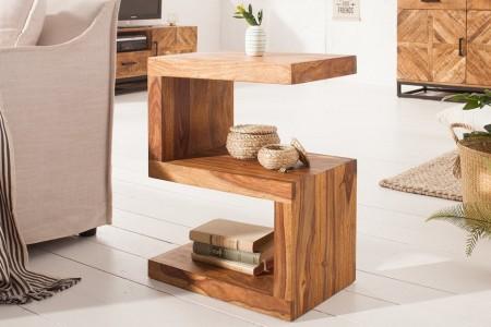 Handgemaakte bijzettafel S 60 cm Sheesham massief hout variabel instelbaar afbeeldingen