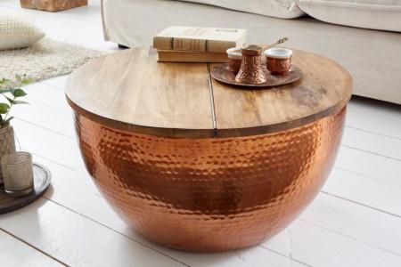 Handgemaakte salontafel ORIENT STORAGE 60cm koper mangohout met opbergruimte