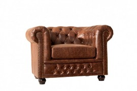 Hoge kwaliteit lederen sofa Chesterfield 1-zits vintage Bruin