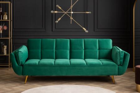 Retro slaapbank BOUTIQUE 213 cm smaragdgroen fluweel met gouden pootjes