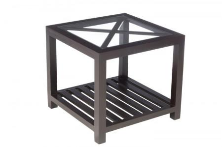 Bijzettafel vierkant zwart hout met glasplaat 50cm