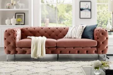 Fluwelen sofa MODERN BAROK abrikoos 3-zits Chesterfield-design afbeeldingen