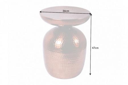Handgemaakte bijzettafel ORIENT 36 cm koper gehamerd design