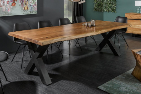 Massieve boomstam eettafel MAMMUT NATURE 240 cm acacia 6 cm tafelblad