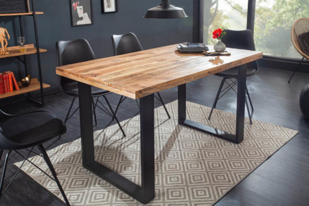 Massieve eettafel IRON CRAFT 140 cm mangohout ijzer industrieel design