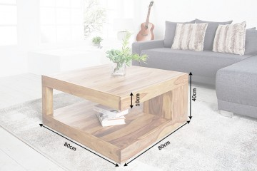 Massieve salontafel bijzettafel GIANT XL Sheesham 80x80cm