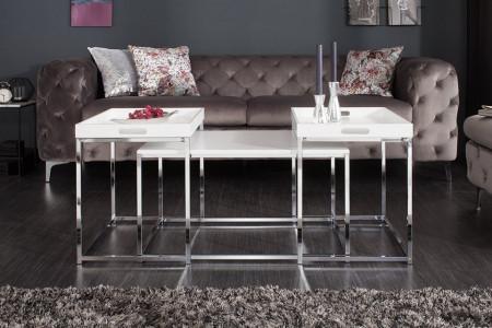 Moderne design salontafel set van 3 ELEMENTS 75 cm wit chromen dienbladtafel