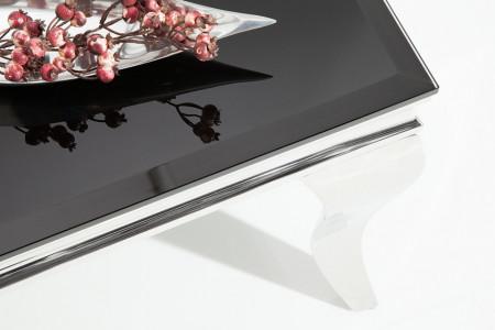 Moderne Salontafel BAROQUE 100cm zilver met zwart opaal glas