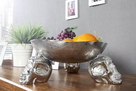 Ontwerp fruitschaal SKULL 35 cm zilveren aluminium schedelschaal afbeeldingen