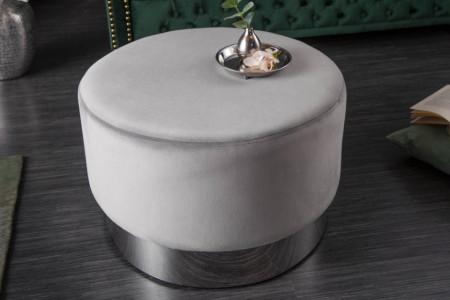 Poef fluweel grijs zilver 55 cm