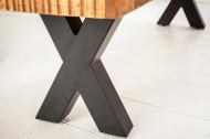 Bank Mangohout zwarte X poten 200 cm